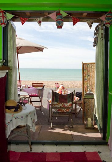 Vintage Beach hut with a view of the sea for hire in Hove, Brighton, UK.