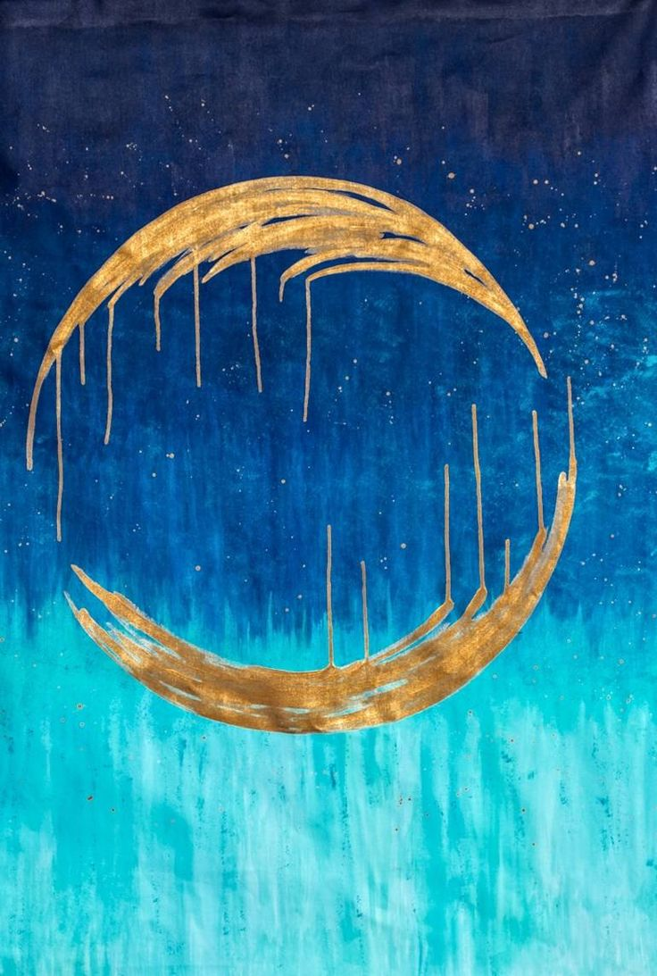 Buy Golden Moon, a Acrylic on Canvas by Sarah Sandmann from South Africa. It portrays: Abstract, relevant to: blue, splatter, abstract, gold, modern, moon Golden Moon embraces the simplicity of life and beauty.