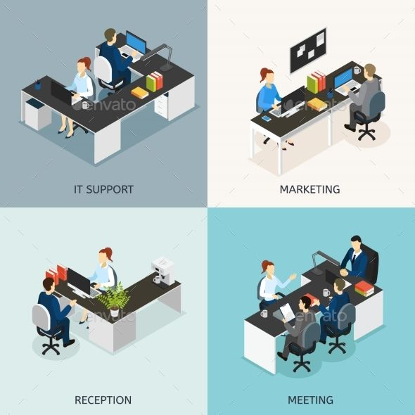 Office Isometric Icon Set by VectorPot Four square colored office isometric icon set with it support marketing reception meeting descriptions vector illustration. Editab