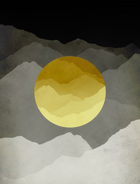 Mid Century Modern Art Print, Yellow and Gray Abstract Wall Art, Mountains Art…