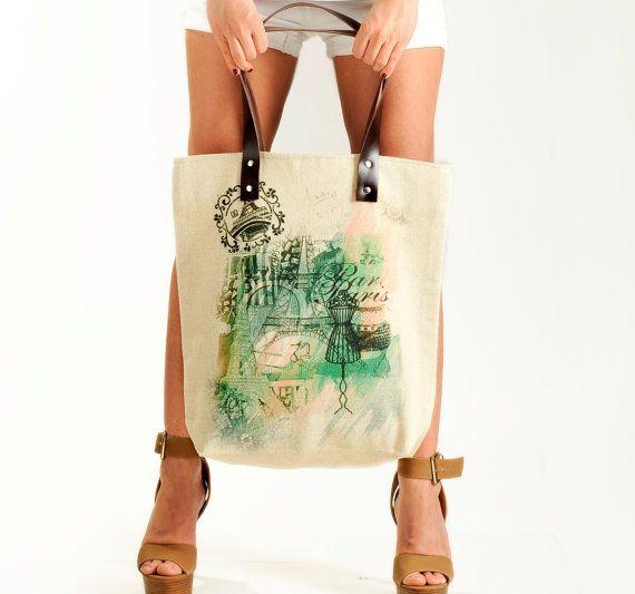 Paris Girl Summer Shoulder Bag Tote Bag by KlothoBags on Etsy, $69.00