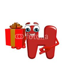 Cartoon Character of alphabet H with gift box