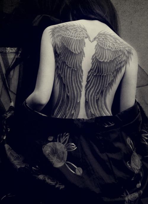 Angel wing tattoo full back for a girl angel tattoo for Angel wings girl tattoos