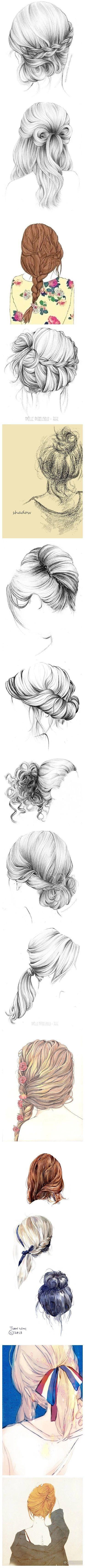 发型 黑白 素描