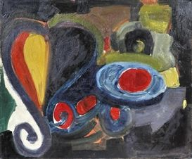 Alexis Akrithakis, Composition, Oil on canvas,1963