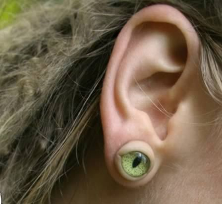 Creepy eye coming out of your earlobe earrings.