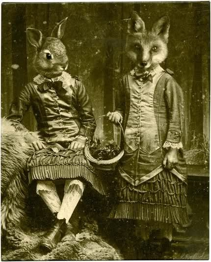 Victorian Fox and Rabbit