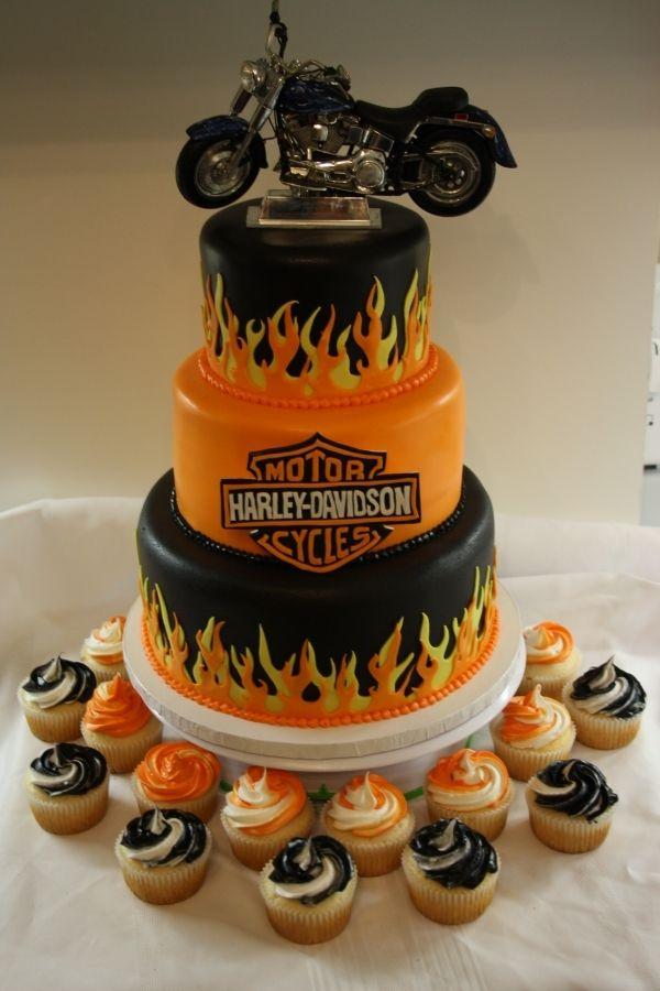 Harley Davidson Cake good idea!!  Matts groom cake? He would love it.