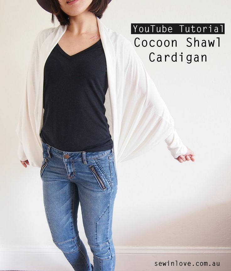 How to make a cocoon shawl cardigan. An easy YouTube video for a free sewing pattern and tutorial: http://youtu.be/QhXuPPg6cXU