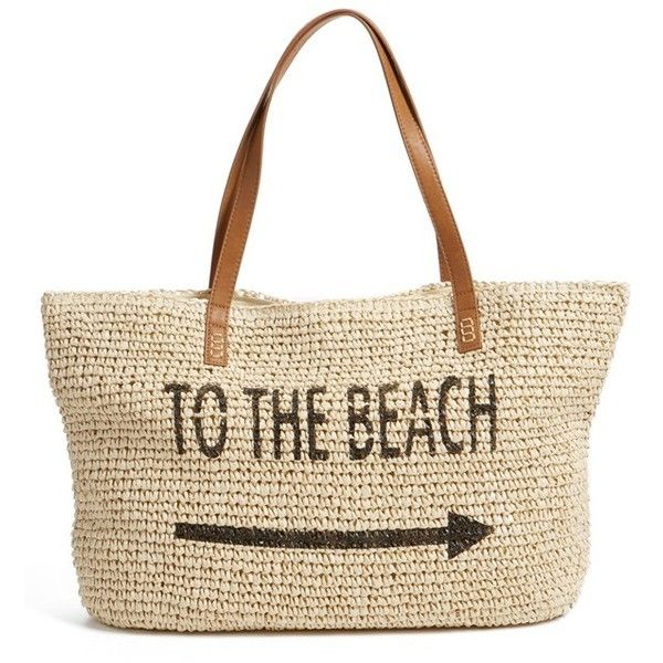 Straw Studios 'Conversation' Straw Tote found on Polyvore featuring bags, handbags, tote bags, beach, white tote handbags, straw beach tote, straw tote beach bag, white handbags and beach handbags