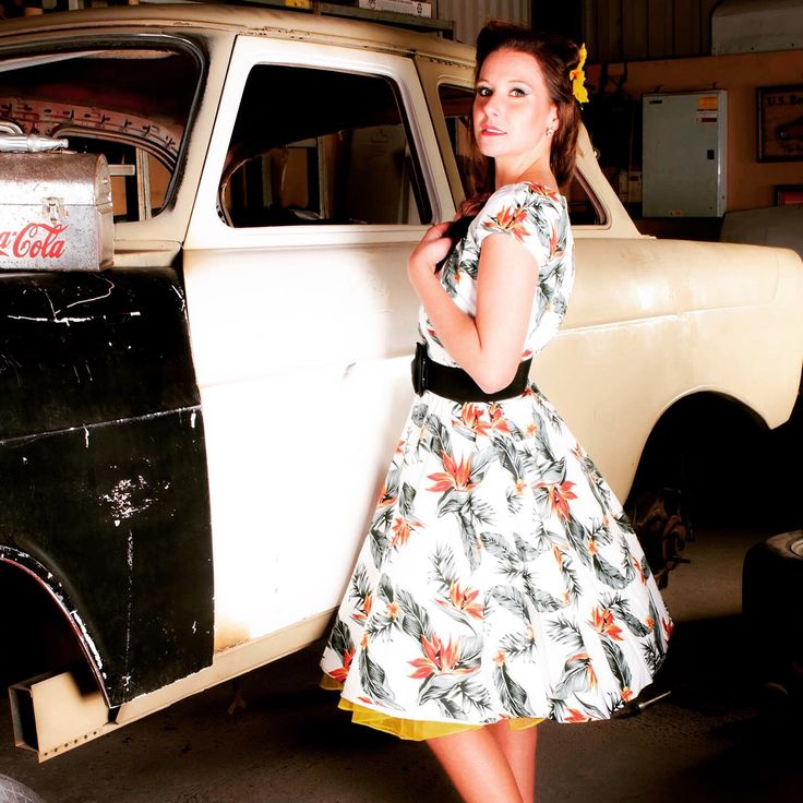 Photoshoot at Gas Axe Inc Hotrod Shop with our new beautiful dresses