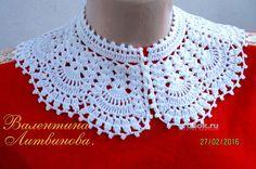 Ажурный воротник крючком. Работа Валентины Литвиновой вязание и схемы вязания