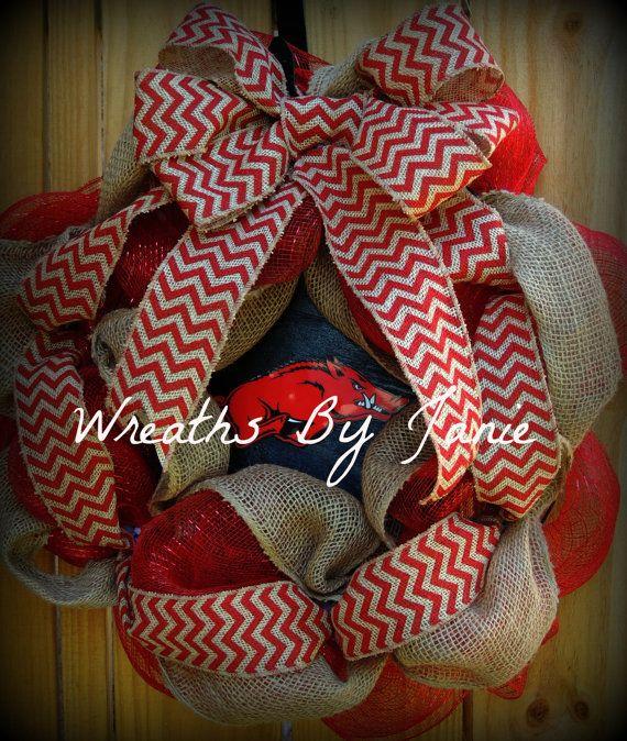 Razorback Wreath - Arkansas Wreath - Collegiate Wreath - Chevron on Etsy, $50.00