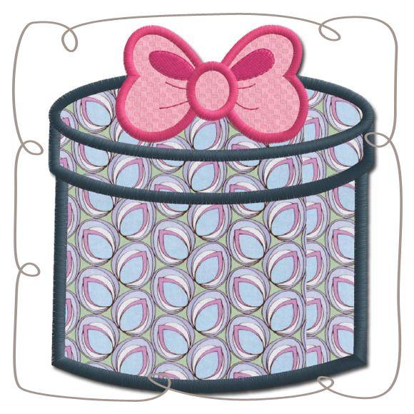 Paris Hatbox Applique Machine Embroidery Design Pattern-INSTANT DOWNLOAD