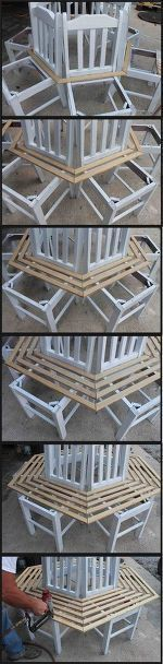 DIY Woodworking Ideas tree bench made from kitchen chairs, diy, outdoor furniture, repurposing upcycli...
