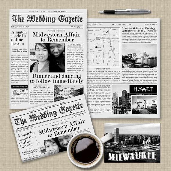 The Louise Wedding Gazette Newspaper Invitation by AprilTwentyFive, $287.50