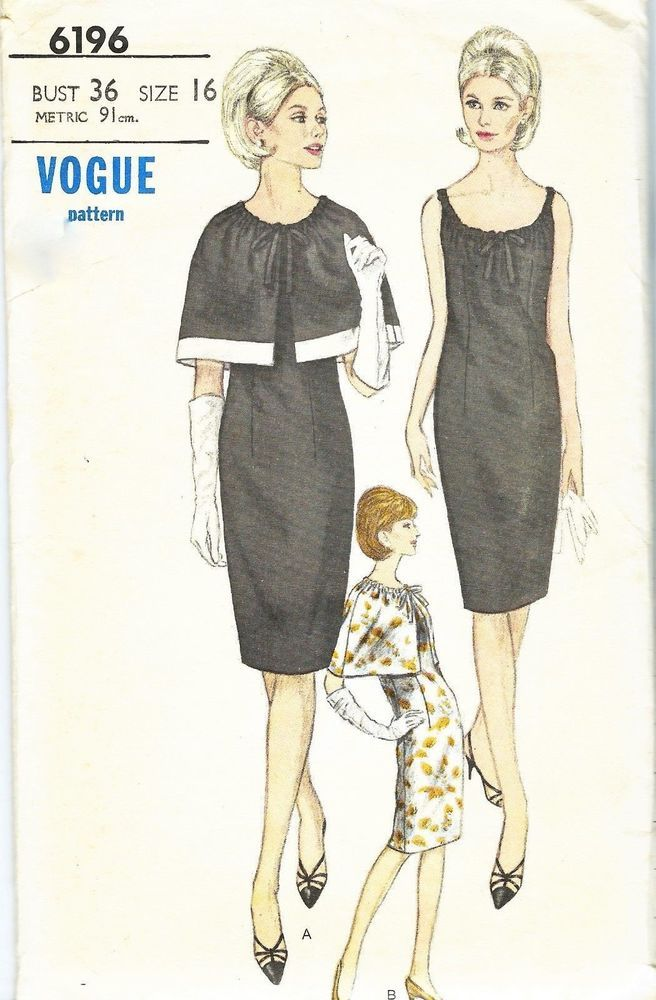 Vintage 1960s Sewing Pattern Jean Shrimpton Style Cocktail Dress & Cape Bust 36""