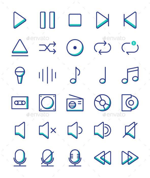 50 Music Player Icon Set Media Icons Icon Set Music Players Icon Set Design