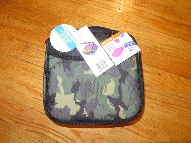Arctic Zone Lunch Bag Combo Green Camo Insulated Bag Bottle Ice Pack #ArcticZone