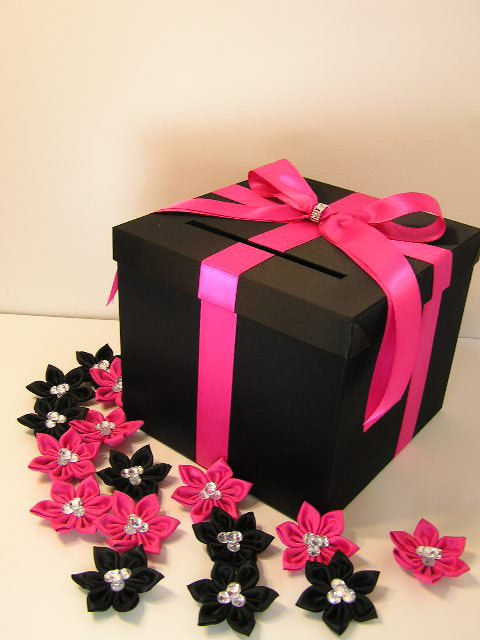 Black and Hot pink Wedding Card Box Gift Card Box Money Box Holder--Customize your color (10x10x9) on Etsy, $60.00