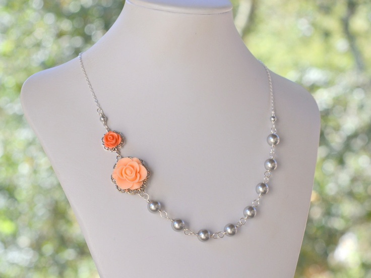 Bridesmaid Jewelry Peach And Coral Rose Asymmetrical Grey