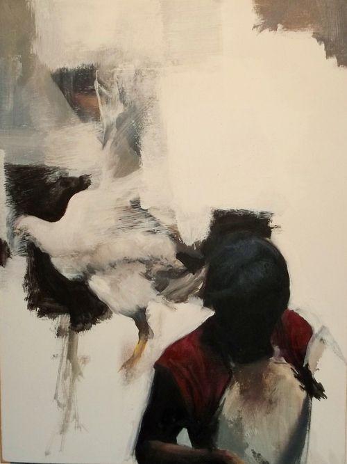 Kenichi Hoshine, Fowl, oil and acrylic on wood