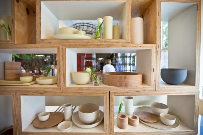 Wooden sheling display in Mark Tuckey store
