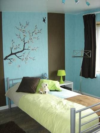 chambre turquoise et marron turquoise nature et album. Black Bedroom Furniture Sets. Home Design Ideas