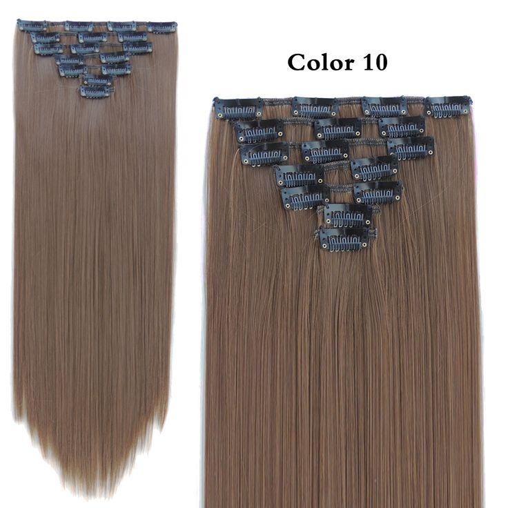 7pcs/set 130g Clip in Hair Extension Aplique de Cabelo Mega Sintetico Freetress Tinta Tic Tac Fast Crazy Color Straight
