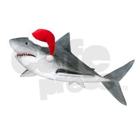 Christmas   Santa Shark Shower Curtain
