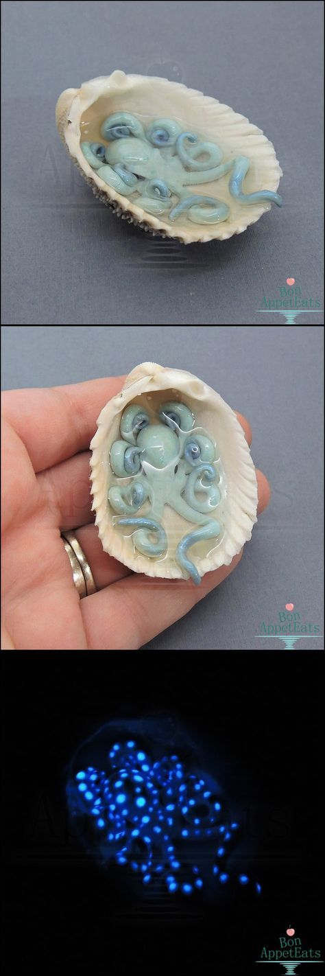 Gift - Miniature Glow in the Dark Octopus Shell by Bon-AppetEats.deviantart.com on @DeviantArt