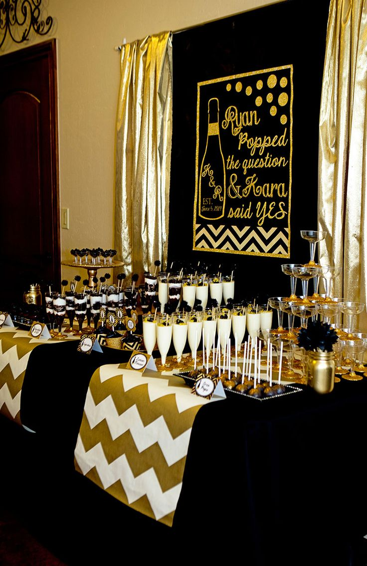 Gold and Black Party - Champagne - Bridal Shower | Lillian Hope Designs