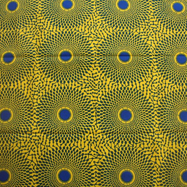 Tessuto africano - stampa tessuto giallo e blu- 1 Yard - un prodotto unico di urbanstax su DaWanda
