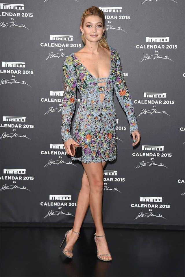 Gigi Hadid de Emilio Pucci en la Gala del Calendario Pirelli 2015 en Milán