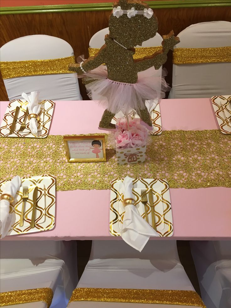 Pink Gold And White Table Setting For A Ballerina Themed
