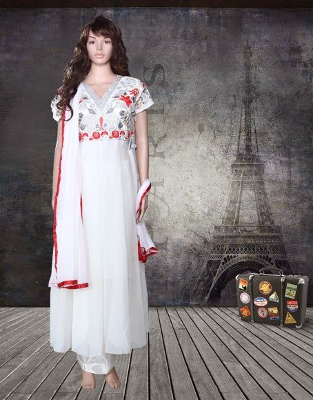 Madhuri Dixit White Georgette Designer Anarkali Suit
