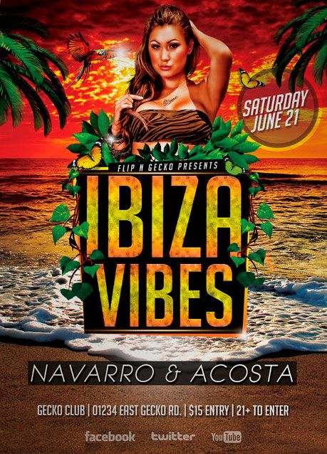Free Ibiza Vibes Flyer Template - http://www.freepsdflyer ...