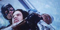 Winter Soldier gif<--huh I hadn't really noticed that, Steve pinned the metal arm down with his leg