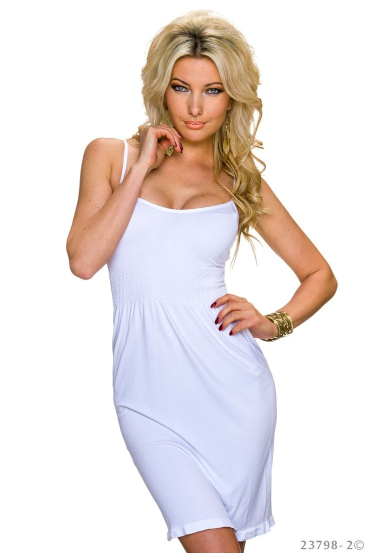Nice Style White Dress, fabric elastic waistband, with straps, elastic fabric, women`s dress