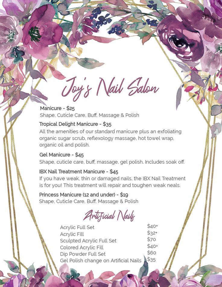 Nail Salon Menu, Salon Menu, Custom Menu, Services Price