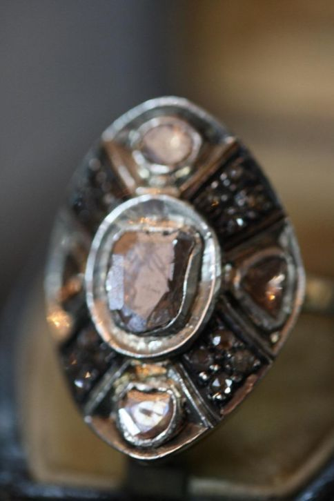 Antique old gold silver diamond ring diamond polki...