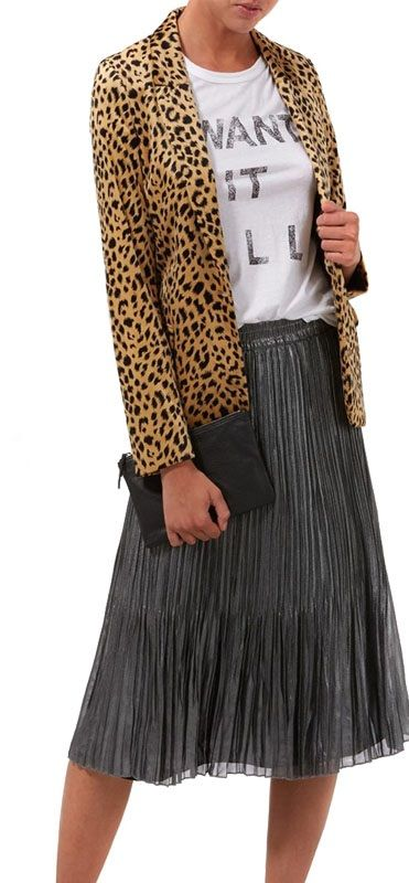 Velvet effect leopard print blazer. Two front pockets. Fitted blazer. One button fastening. Black silk effect lining. PLUS: Mid length skirt. Silver metallic effect. Small pleats around the skirt. Elasticated waist. Black lining on the inside.