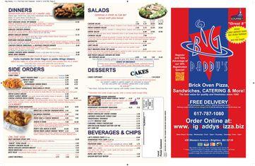 Big Daddy's Pizza Brighton, MA Downloadable Menu