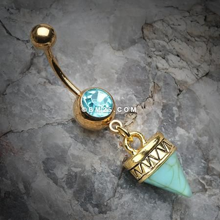 Golden Tribal Turquoise Spike Dangle Belly Button Ring-Aqua
