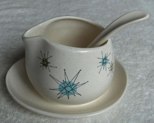 Franciscan Starburst Midcentury Modern Atomic Gravyboat and Stand with Ladle Set - check
