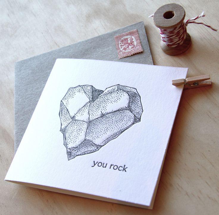 Fluid Ink Fine Letterpress of Australia - You rock - A super svelte chiselled Valentine's heart shaped rock adorns this super sweet letterpress card, with the pun 'You Rock'. 10x10cm card with Kraft envelope  $6.50