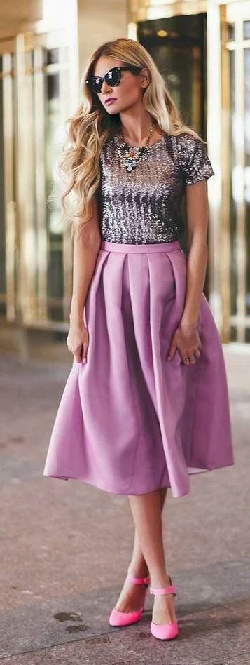pink ankle strap, sequin top with midi skirt