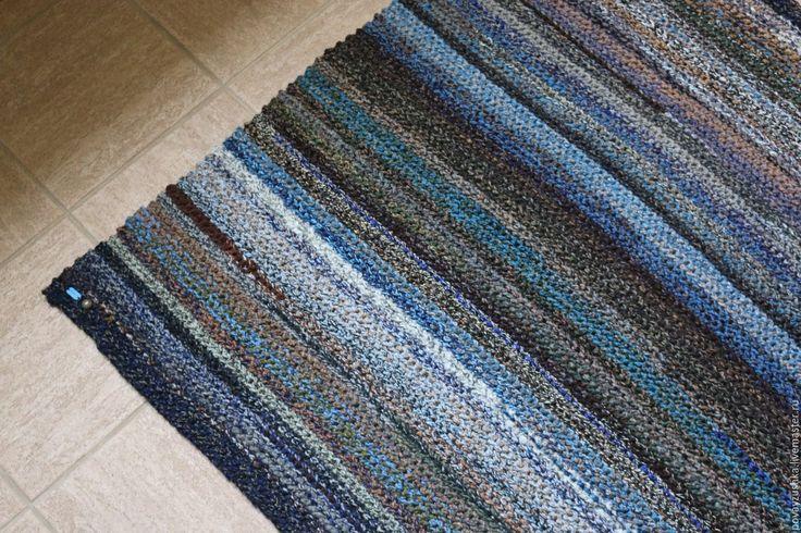 Купить вязаный коврик меланж прямоугольный - ковер ручной работы, прикроватный коврик, вязаный коврик