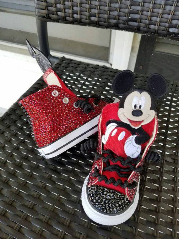 e33d6cc51e1 Red rhinestoned fully covered Mickey Mouse hightop (can be any color or  theme)     boys OR girls