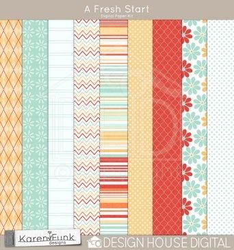 free digital paper: A Fresh Start (by Karen Funk from Digital House Designs) #free #digital #pattern #paper #printables #scrapbooking